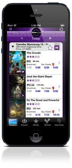 Showtimes for iPhone and iPod Touch
